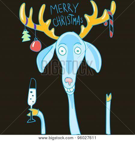 Happy Christmas cartoon deer