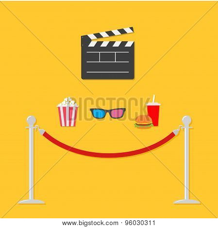 Open Movie Clapper Board 3D Glasses Popcorn Soda Hamburger Template Icon. Red Rope Barrier Stanchion