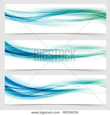 Modern Abstract Green Blue Line Header Collection