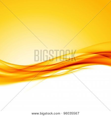 Bright Orange Swoosh Wave Border Background