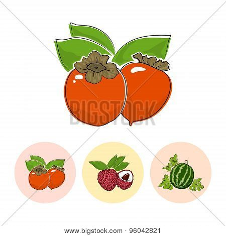 Fruit Icons, Persimmon , Lichee ,  Watermelon