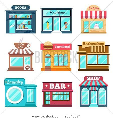 Shops and stores icons set in flat design style