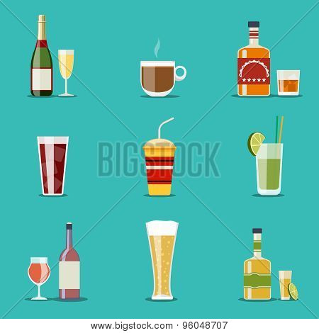 Drink flat icons. Alcohol and beer, wine bottles