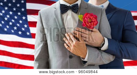 people, homosexuality, same-sex marriage and love concept - close up of happy married male gay couple in suits with buttonholes and bow-ties on wedding over american flag background