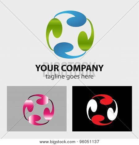 Business Technology circle logo hitech futuristic style creative concept