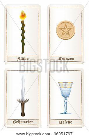 Tarot Cards Elements Pentacles Swords Wands Cups German