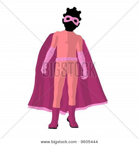 African American Super Hero Girl Illustration Silhouette
