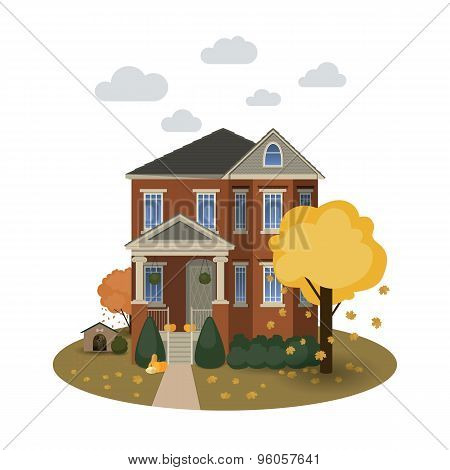 Two story autumn house