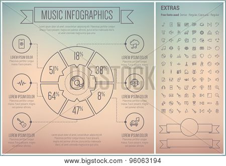 Music infographic template and elements. The template includes the following set of icons - speaker, play sign, music note, G-clef, piano, guitar tuner, saxophone and more. Modern minimalistic flat