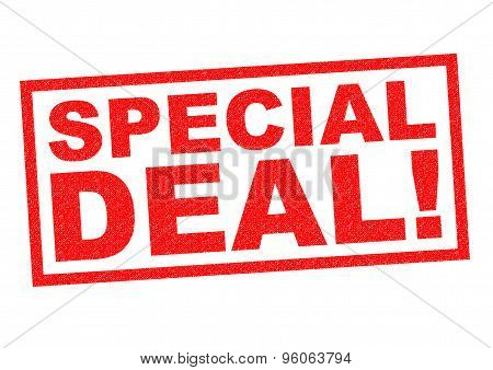 SPECIAL DEAL red Rubber Stamp over a white background. poster
