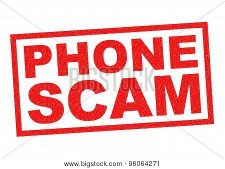PHONE SCAM red Rubber Stamp over a white background. poster