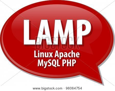 Speech bubble illustration of information technology acronym abbreviation term definition LAMP Linux Apache MySQL PHP