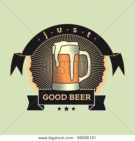 Retro Logo Concept Of Beer