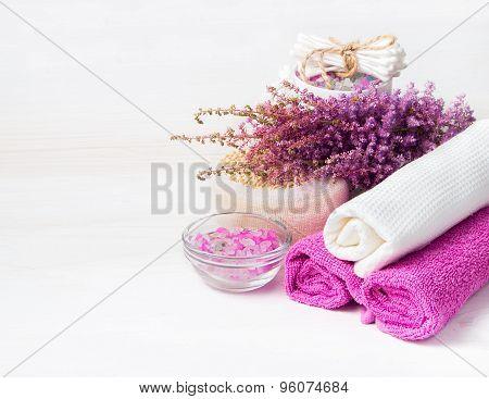 Spa Concept. Flower, Sea Salt, Towels