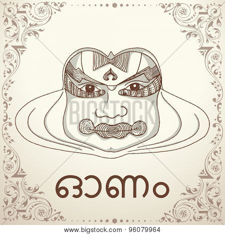 Illustration of Kathakali dancer face with Malayam text Onam on beautiful floral design decorated background for South Indian festival celebration.