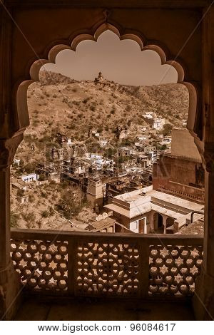 View from the balcony of the Amber Fort near Jaipur city in Rajasthan, India poster