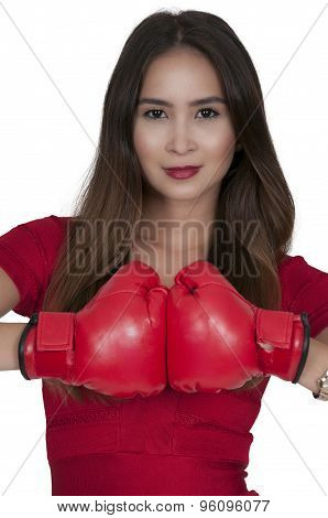 Woman Oxer In Red Dress