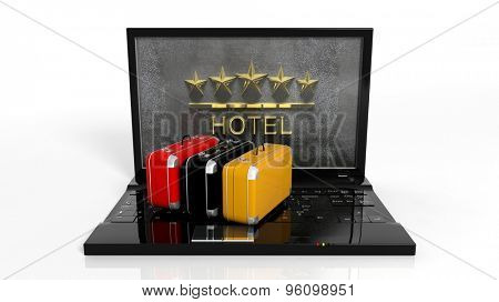Suitcases on laptop keyboard with 5 stars hotel symbol on screen