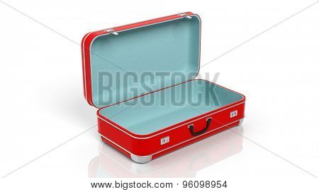 Opened red travel suitcase isolated on white background