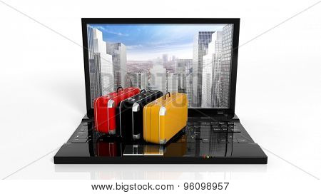 Suitcases on black laptop keyboard with skyscrapers on screen, isolated