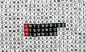 ERP Enterprise Resource Planning writen on black and white dices poster