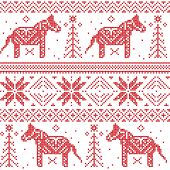 Nordic Christmas Pattern With Stars, Snowflakes, Horses, xmas trees, xmas ornaments  In Cross Stitch inspired by Scandinavian culture poster