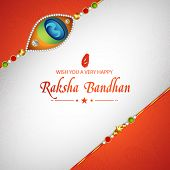 Elegant greeting card design decorated with beautiful creative rakhi for Indian festival of brother and sister love, Happy Raksha Bandhan celebration. poster