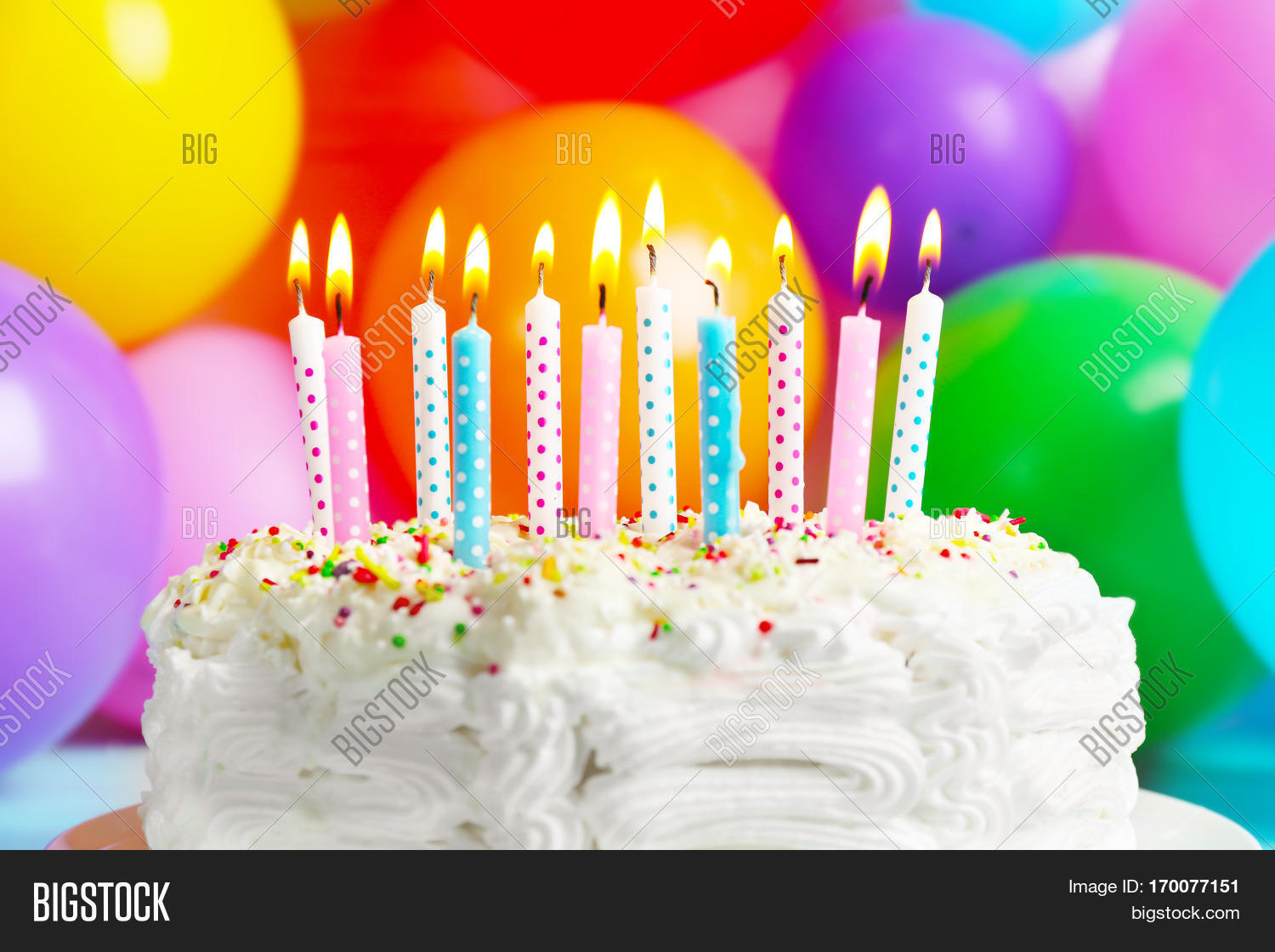 Birthday Cake With Candles On Balloons Background