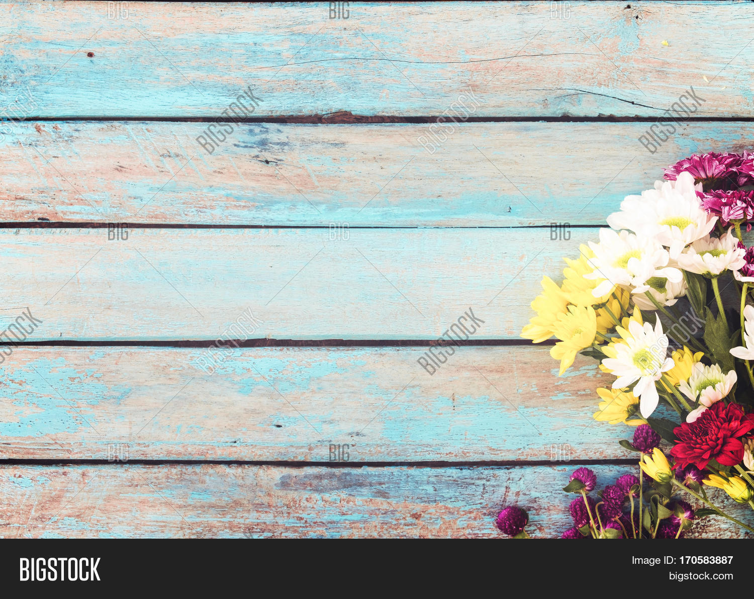 Colorful Flowers Bouquet On Vintage Image Amp Photo Bigstock