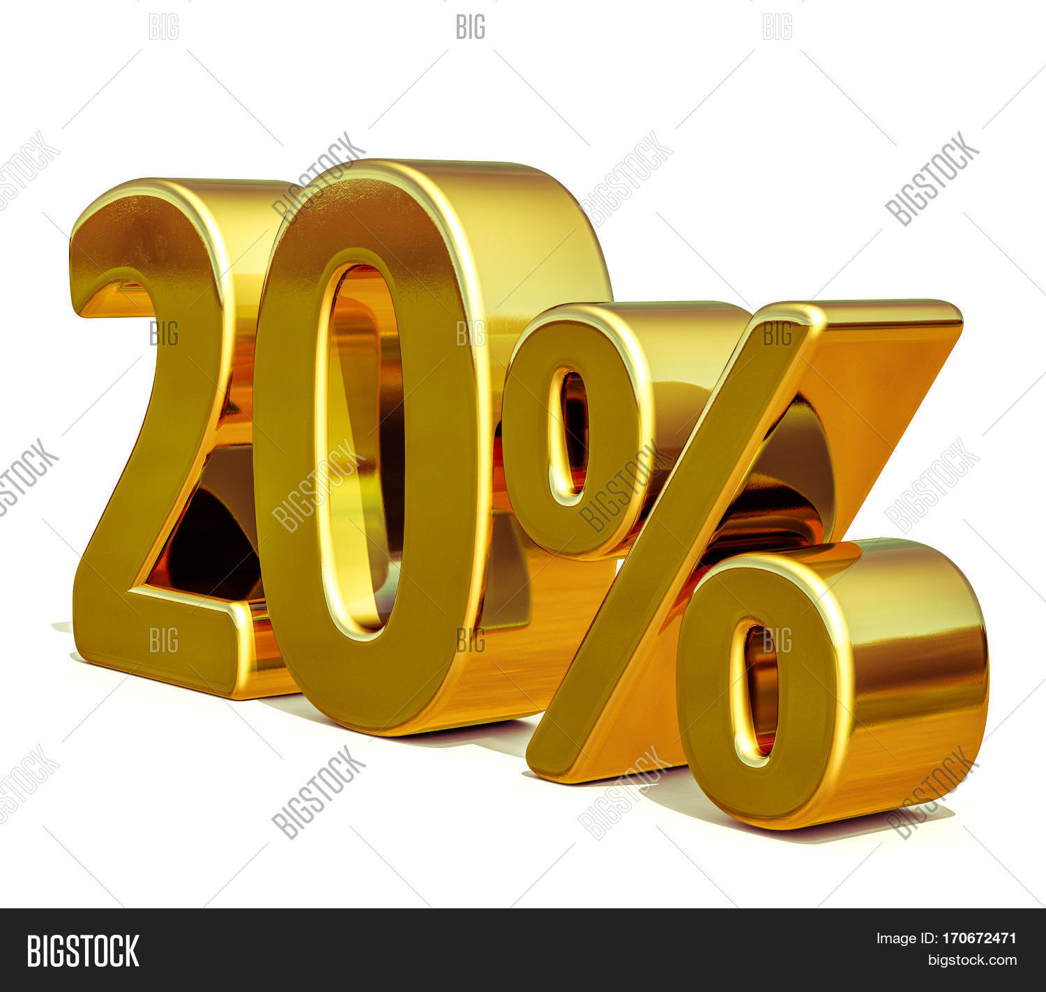 gold sale 20 gold percent off image photo bigstock. Black Bedroom Furniture Sets. Home Design Ideas