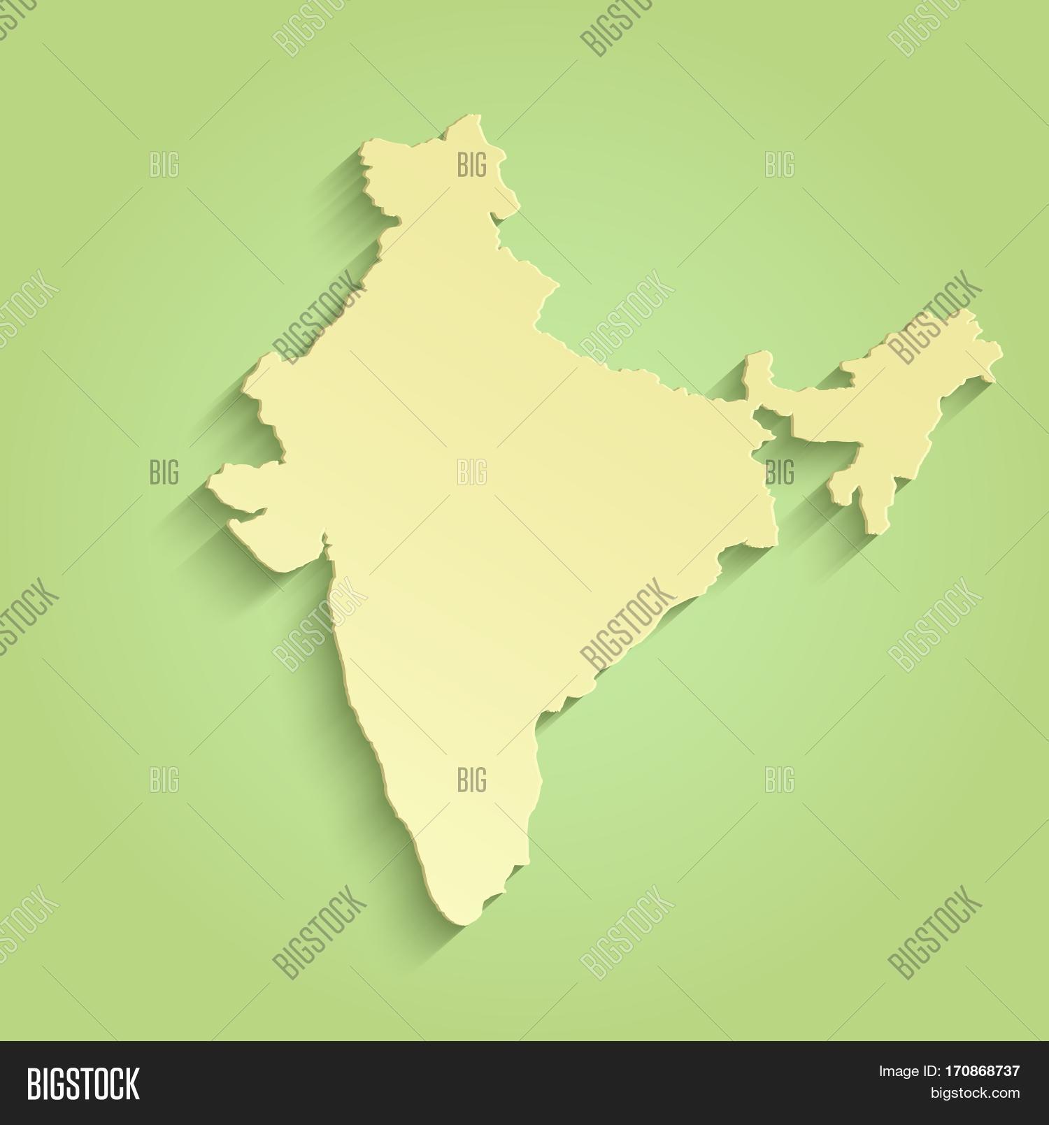 India Map Green Yellow Raster Image & Photo   Bigstock