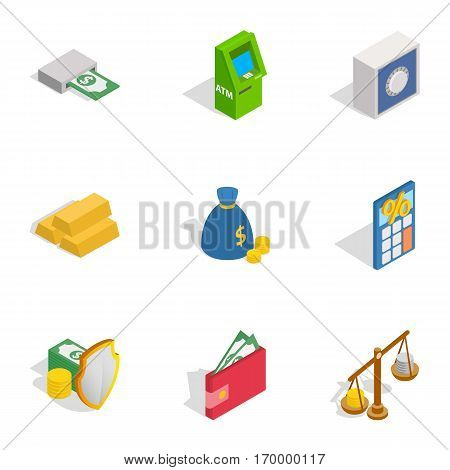 Financial investment icons set. Isometric 3d illustration of 9 financial investment vector icons for web