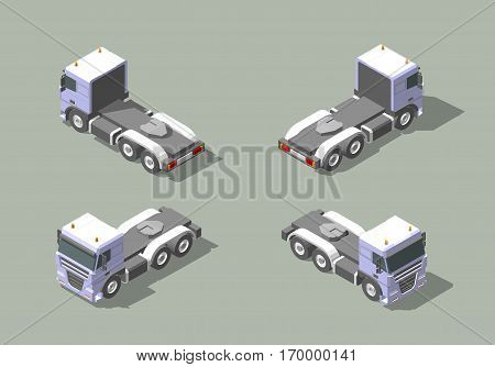Truck cab in four views isometric icon vector graphic illustration design for Infographic