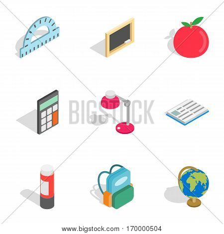 Stationery for study icons set. Isometric 3d illustration of 9 stationery for study vector icons for web