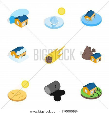 Natural disaster icons set. Isometric 3d illustration of 9 natural disaster vector icons for web