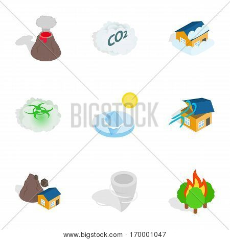 Catastrophe icons set. Isometric 3d illustration of 9 catastrophe vector icons for web