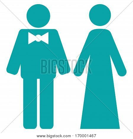 Just Married Persons vector icon symbol. Flat pictogram designed with cyan and isolated on a white background.