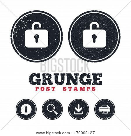 Grunge post stamps. Lock sign icon. Login symbol. Information, download and printer signs. Aged texture web buttons. Vector
