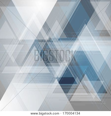 Blue and grey tech triangles background. Vector geometric abstract background