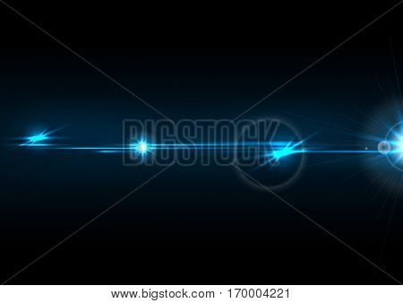 Blue glow lens flare effect abstract background. Vector design
