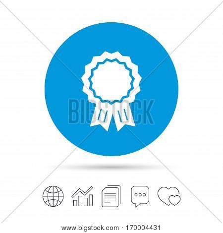 Award medal icon. Best guarantee symbol. Winner achievement sign. Copy files, chat speech bubble and chart web icons. Vector