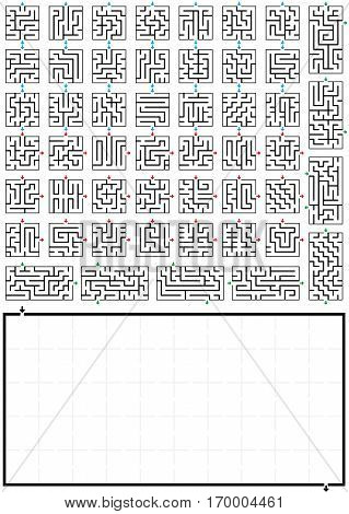 Maze generator - do it yourself labyrinth - insert the items into the blank maze-field - mirror or turn them, but watch the leading little arrows to the next open gate, so that a continuous way is guaranteed.
