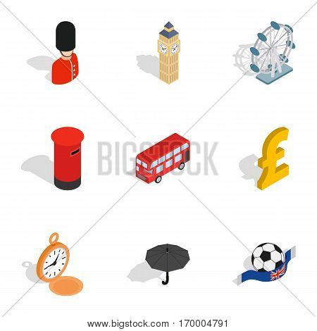 British culture icons set. Isometric 3d illustration of 9 British culture vector icons for web