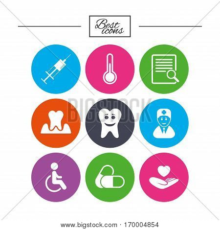 Medicine, medical health and diagnosis icons. Capsules, syringe and doctor signs. Tooth parodontosis, disabled person symbols. Classic simple flat icons. Vector