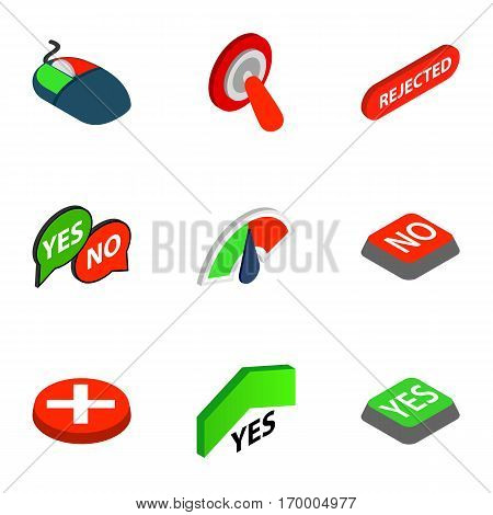 Yes and No button icons set. Isometric 3d illustration of 9 Yes and No button vector icons for web