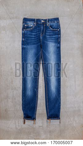 blue jeans and gray background