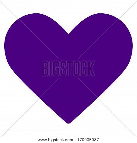 Love Heart vector icon symbol. Flat pictogram designed with indigo blue and isolated on a white background.