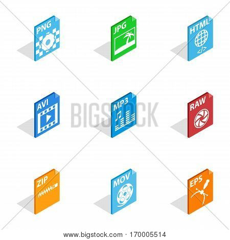 File format icons set. Isometric 3d illustration of 9 file format vector icons for web