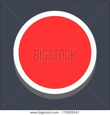Web internet circle button in 3D flat style. Hover variant. Quick and easy recolorable shape. Vector illustration a graphic element