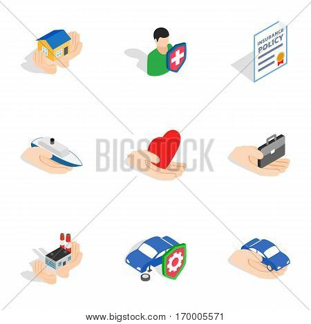 Insurance icons set. Isometric 3d illustration of 9 insurance vector icons for web